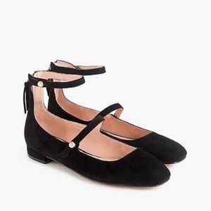 Jcrew black poppy two-strap suede ballet flats